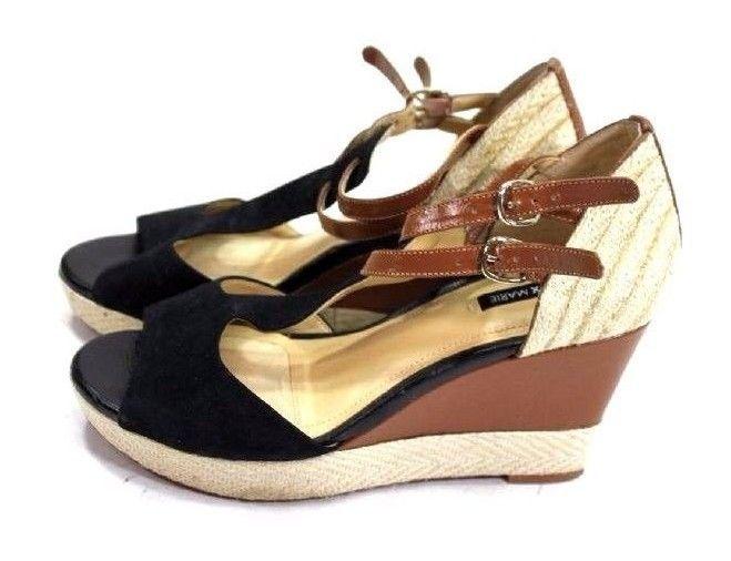 6e3a364fd9 Alex Marie Women's Wedge Sandals Size 7.5 Black Suede Leather Ankle Strap  #AlexMarie #PlatformsWedges