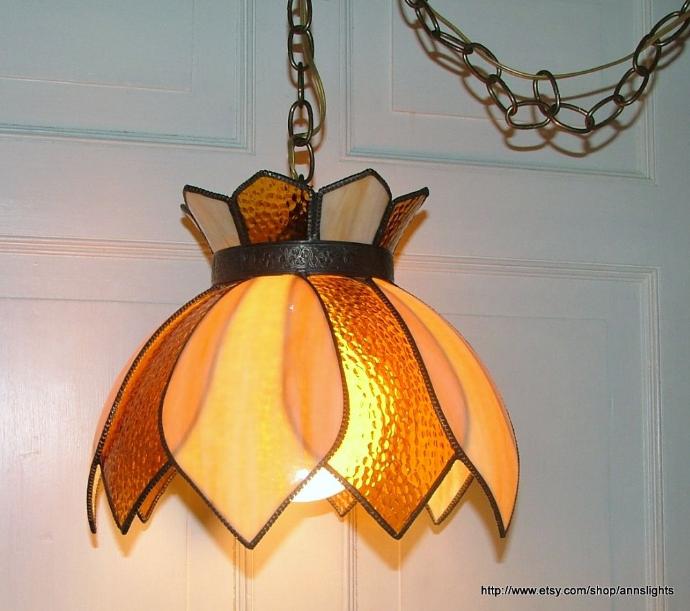 Sold Swag Light Shade Stained Glass Petal Shape Lighting
