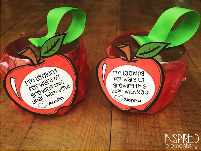 An Apple (Candle) for the Teacher - FREE printable apple tags.