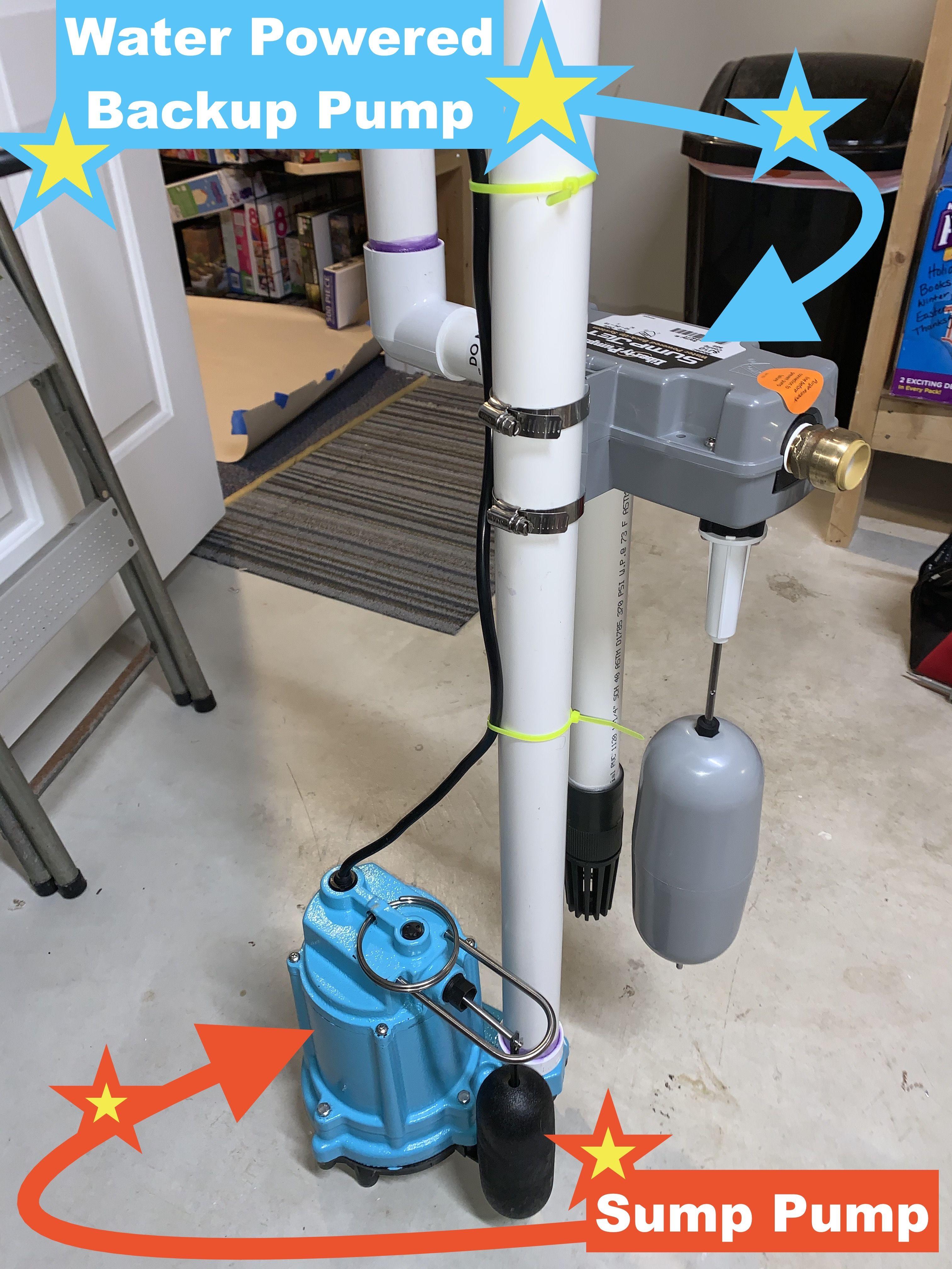 Basement sump pump and water powered backup sump pump