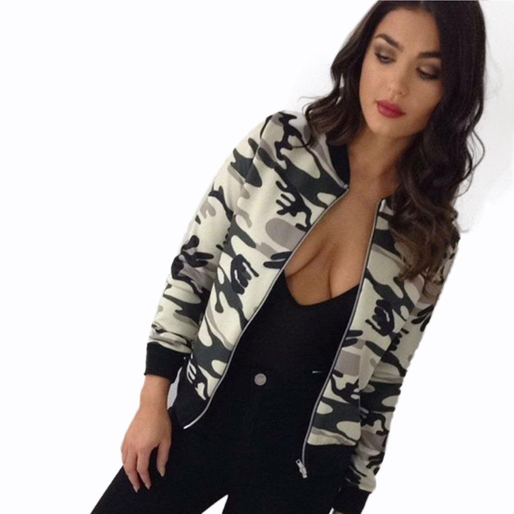 a0b63ae0768ea Women Thin Bomber Jacket Long Sleeves Coat 2017 Army Green Printed Camouflage  Jacket Chaquetas Girl Plus Size Casual Jacket