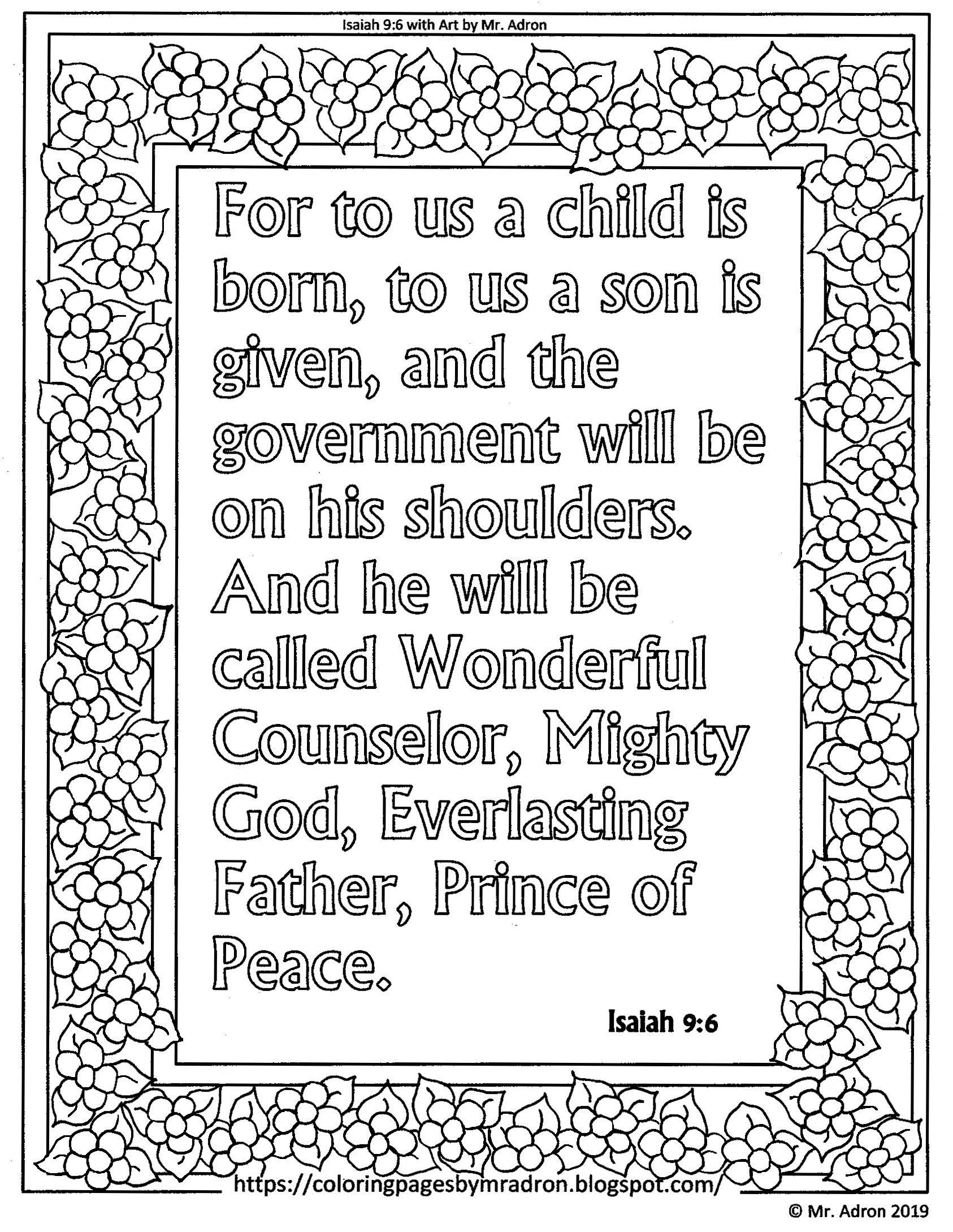 Free Print and Color Isaiah 9:6 Page, For to us a child is ...