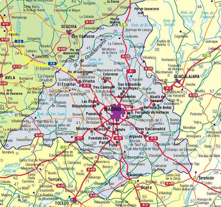 Mapa De Madrid Provincia.Mapa De Madrid Spanelsko Ciudades Madrid Ciudad Y Mapas