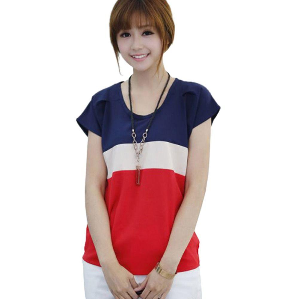 Fashion Shirts Tops Korean T-shirts Lady T-Shirt Blouse Loose Summer Chiffon