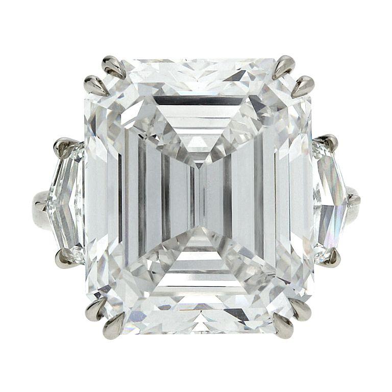 Rare Emerald Cut 17.98 carat Diamond Ring GIA H Internally Flawless | 1stdibs.com