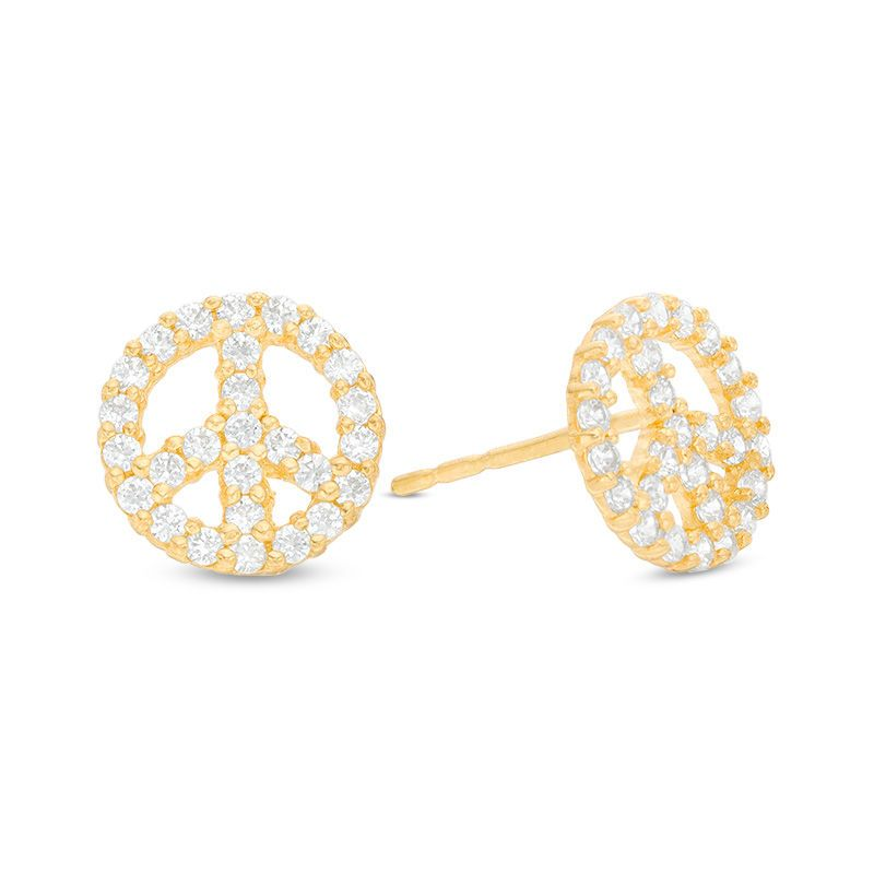 Cubic Zirconia Peace Sign Stud Earrings In 10k Gold Piercing 10k Gold Stud Earrings Peace Sign