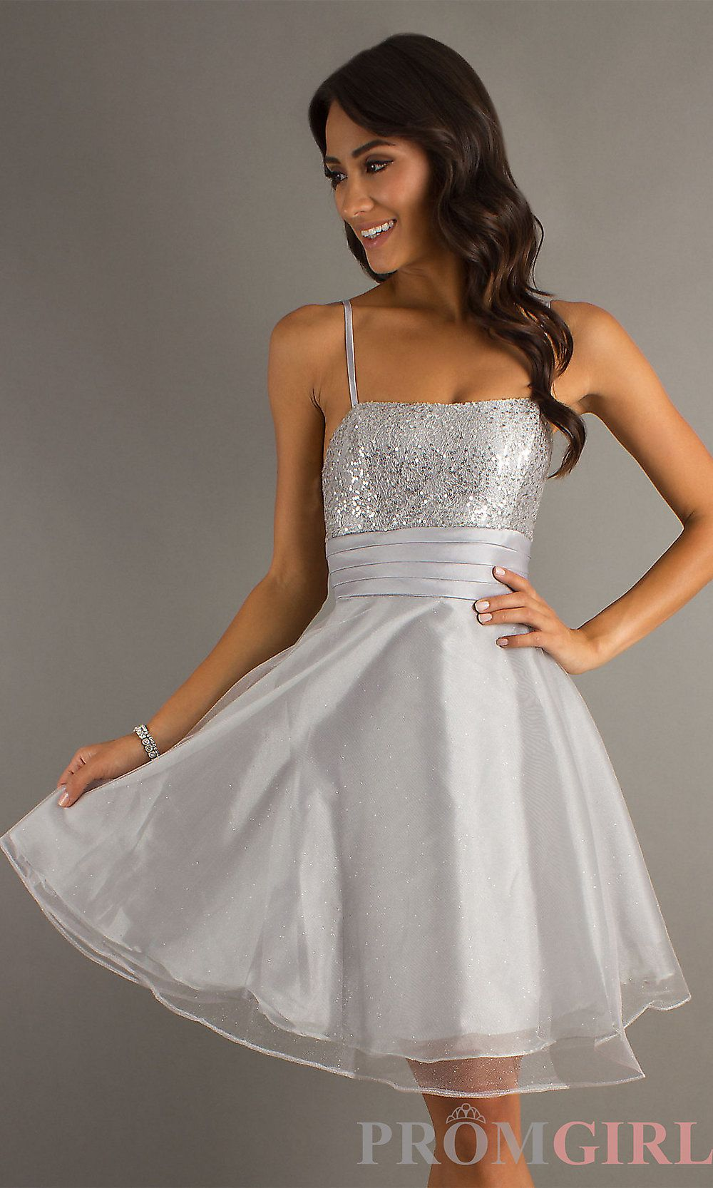 Short Homecomiing Dress, Modest Teen Dress- PromGirl (Silver ...