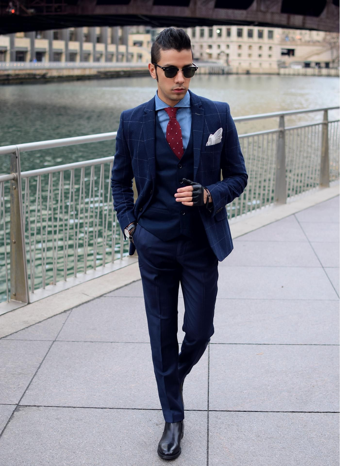Men's Navy Check Blazer, Navy Waistcoat, Blue Dress Shirt, Navy ...