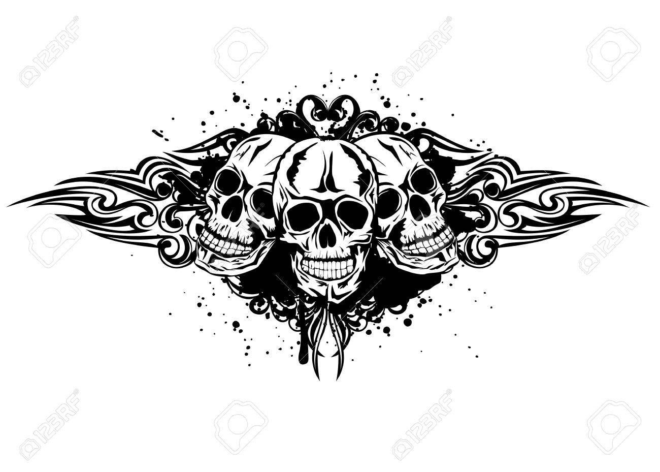 Vector Illustration Three Skulls And Patterns Skull Vector Illustration Inspirational Tattoos