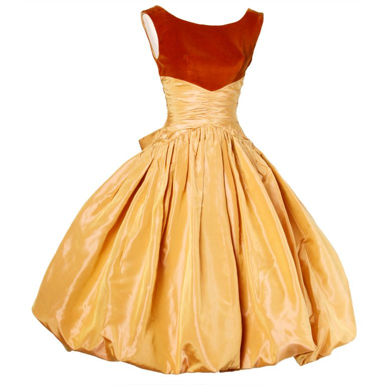 1950's Butterscotch Silk Taffeta Velvet Cocktail Bubble Dress