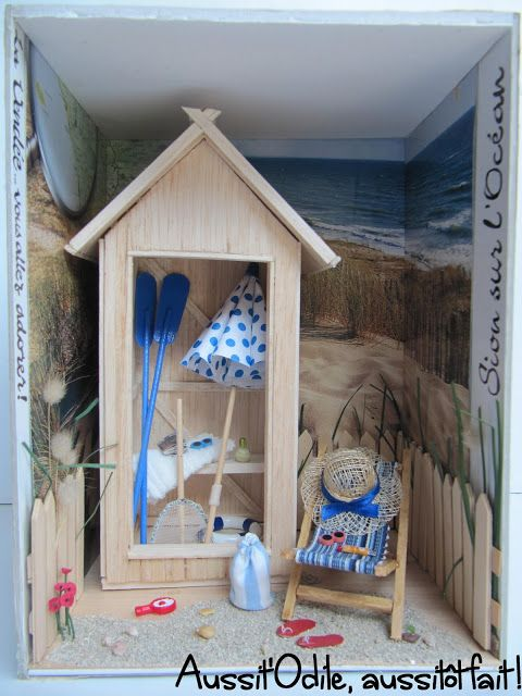 Beach Hut Room Box Lacabinedeplage Miniature Coastal