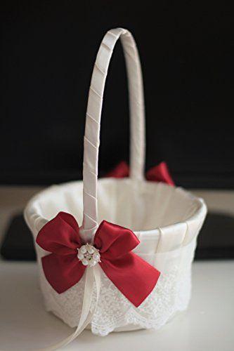 Amazon ivory scarlet red flower girl basket jewel ring bearer amazon ivory scarlet red flower girl basket jewel ring bearer pillow mightylinksfo