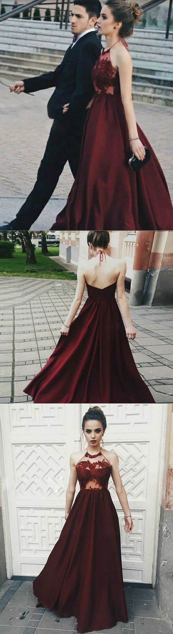 Chic a line burgundy prom dress modest cheap long chiffon lace prom