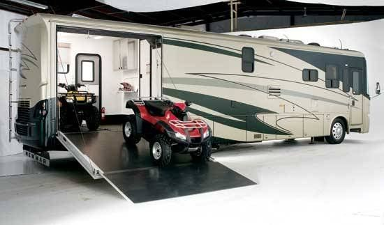 Newmar class a toy hauler class a motorhomes for sale for Motorhome with large garage