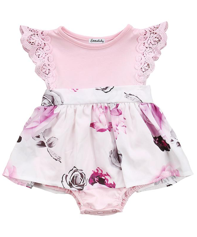 5d51fc13fc SHOP Our Pink Lace Floral Romper for Baby   Toddler Girls
