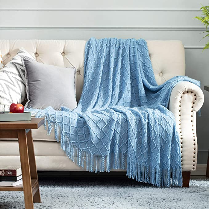 Bedsure 100% Acrylic Knit Throw Blanket, 50×60 Inch - Soft Warm Cozy Lightweight Decorative Blanket with Tassels for Couch, Bed, Sofa, Travel (Light Blue)