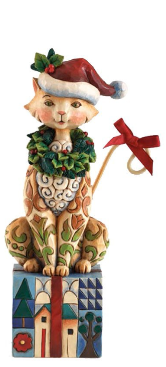 Jim Shore Heartwood Creek Christmas Cat with Santa Hat