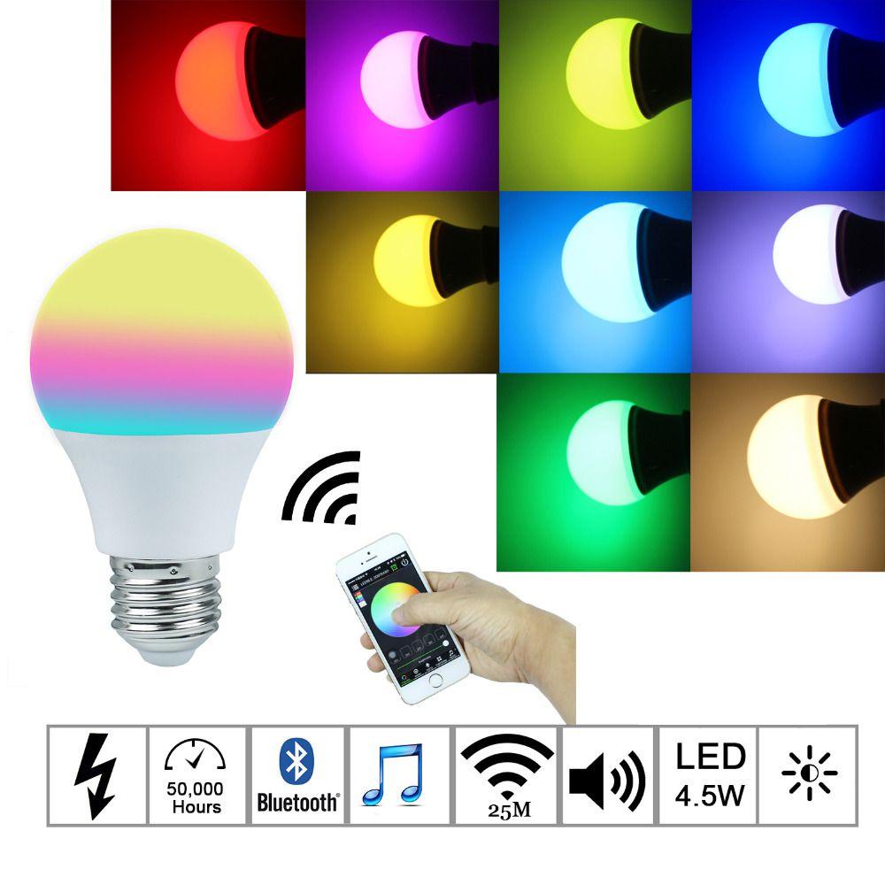 2016new Magic Blue 4 5 W E27 Rgbw Led Lamp Bluetooth 4 0 Smart