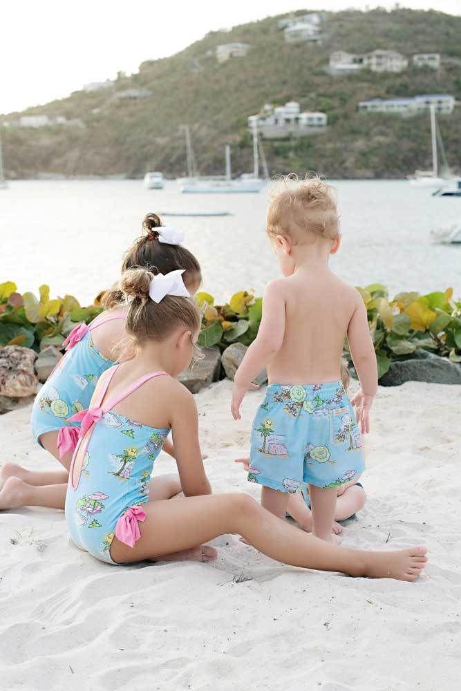 587856cd2cb02 Laguna Beach Bathing Suit - Olde Florida with Hamptons Hot Pink - The  Beaufort Bonnet Company