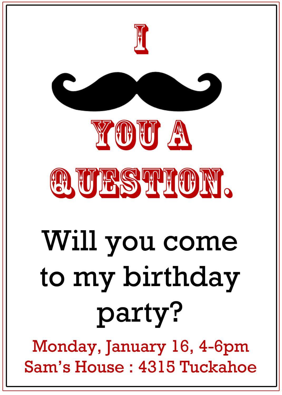 Mustache Party invitation- Boy\'s Birthday Invitation- Digial File ...