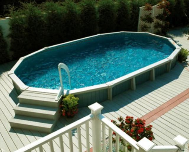Above Ground Swimming Pool Designs, Shapes And Styles: Wood Decks Built To  Surround Above Ground Pools Give Them A More Permanent Look.