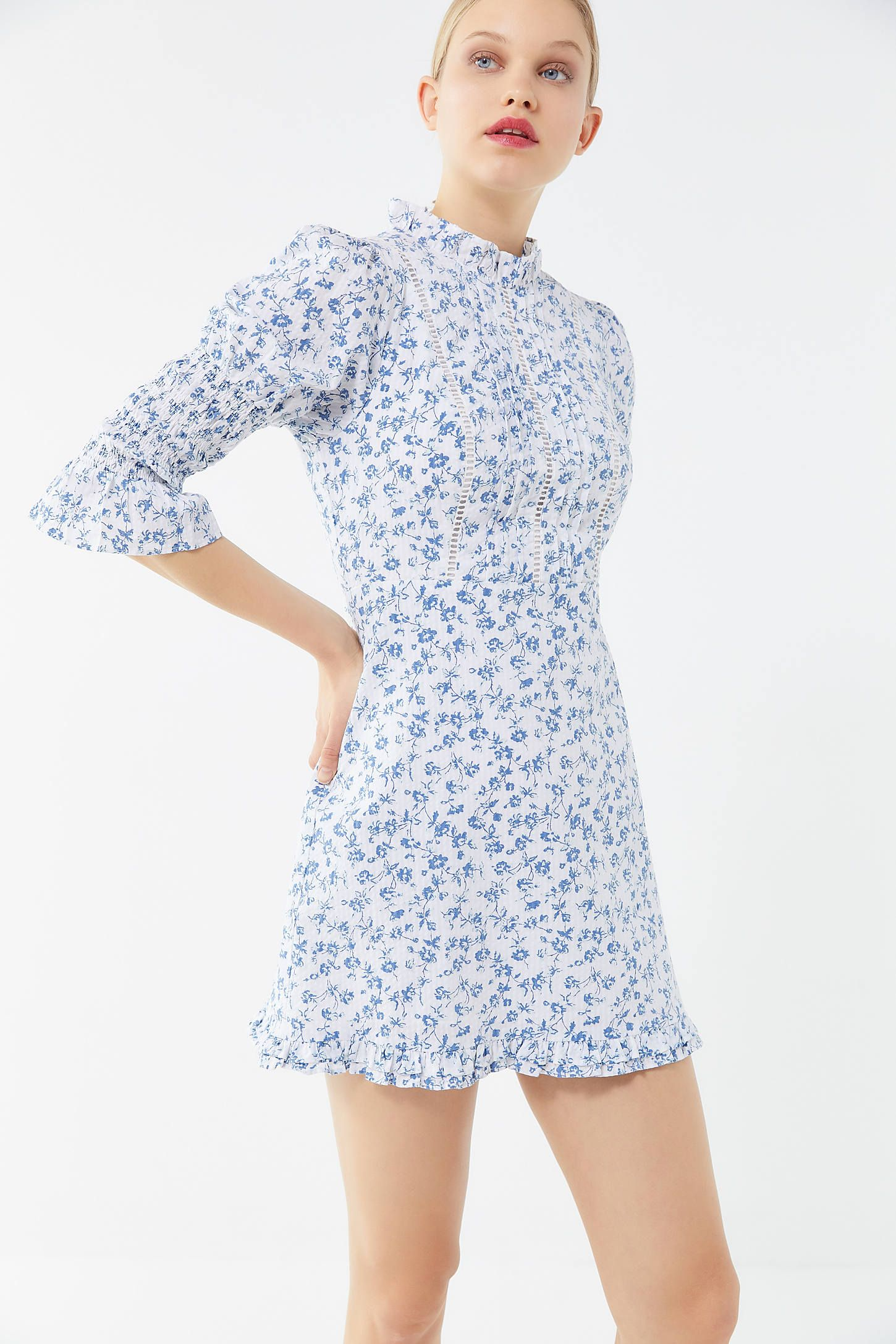 597b56d0d1 Laura Ashley UO Exclusive Maisy Mock Neck Mini Dress in 2019 ...