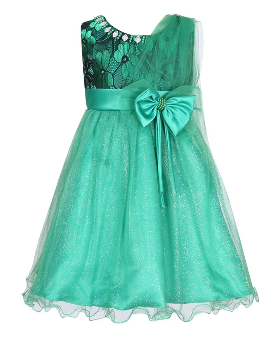 Take a look at this Green Party Dress & Bow - Toddler & Girls today ...