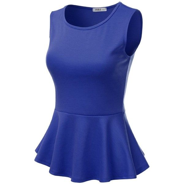 J.TOMSON Women's Short Sleeve Fitted Peplum Top ROYAL M (110 VEF) ❤ liked on Polyvore featuring tops, short sleeve tops, blue peplum top, fitted tops, blue top and blue short sleeve top