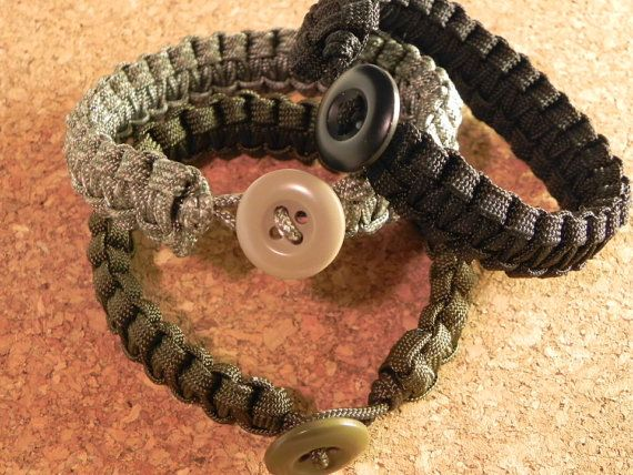 Survival Paracord Bracelet with Button by Hooahh on Etsy, $7.00
