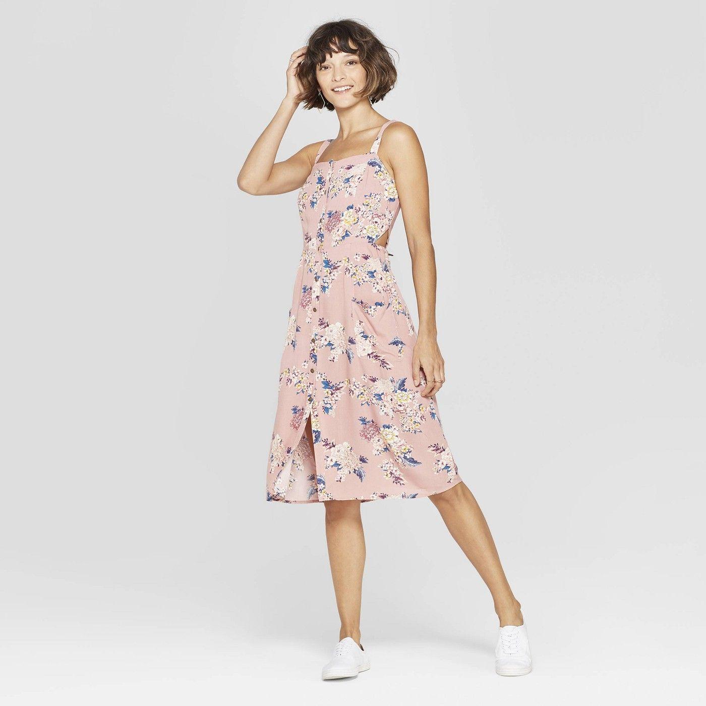 Women S Floral Print Square Neck Strappy Button Front Midi Dress Xhilaration Rose Target Pink Spring Fashion Fashion Dresses [ 1400 x 1400 Pixel ]