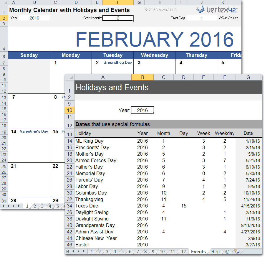 Download A Printable Monthly Calendar Template For Excel That