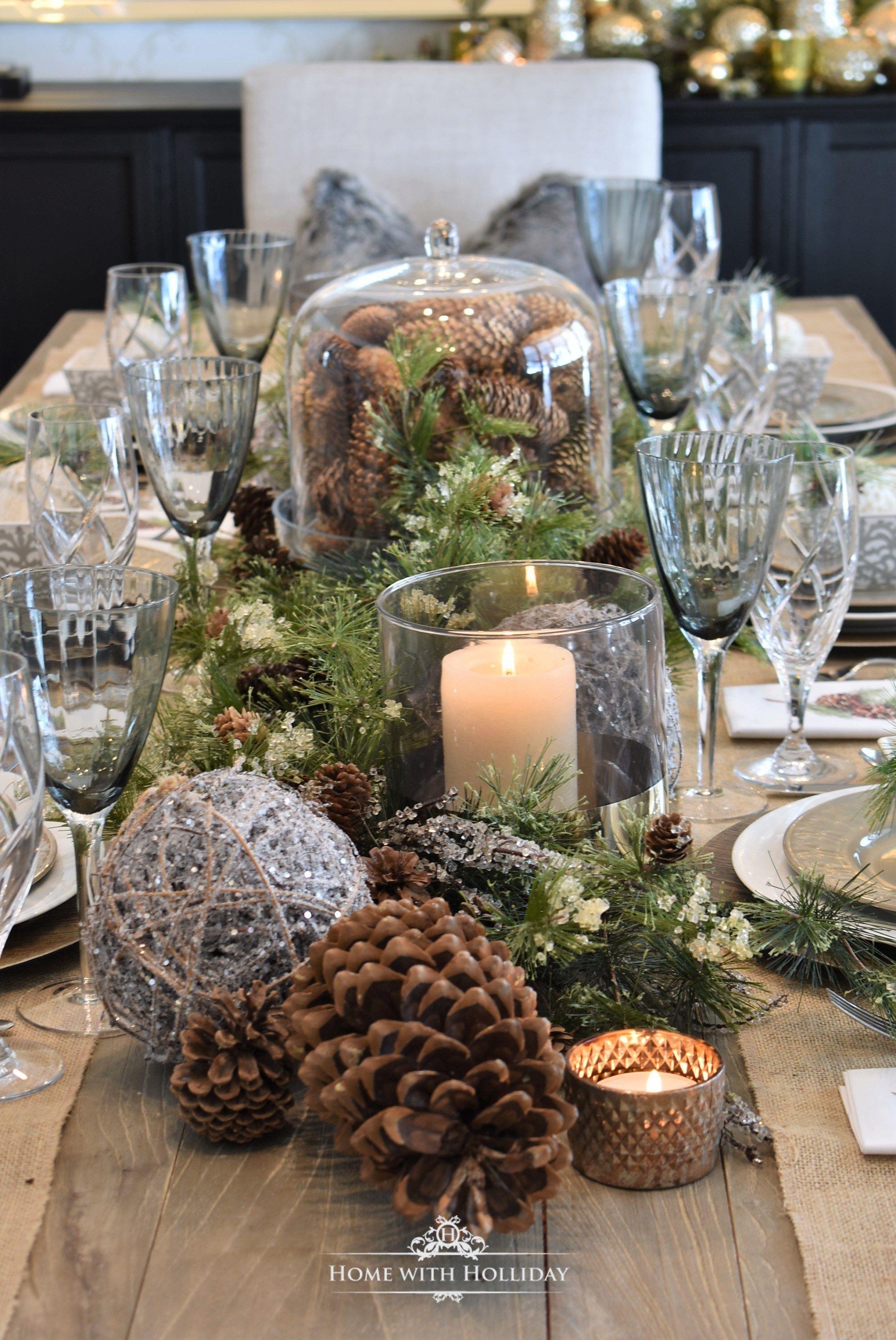 Simple Woodland And Pine Cone Christmas Table Setting Christmas