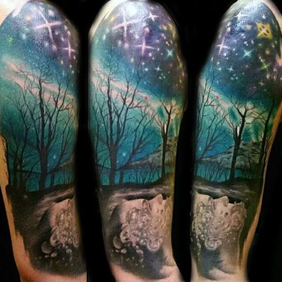 50 Northern Lights Tattoo Designs For Men Aurora Borealis Ideas