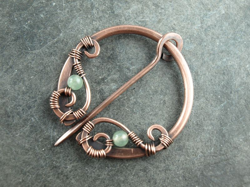 Shawl Pin / Schal-Fibel aus Kupfer, Aventurin | Brejwan Handwerk ...
