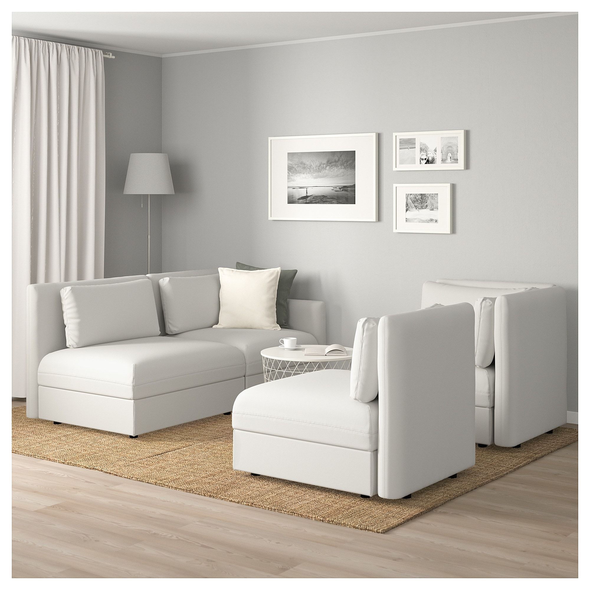 Vallentuna Modular Corner Sofa 3 Seat With Storage Murum White Modular Corner Sofa Corner Sofa Living Room Without Tv