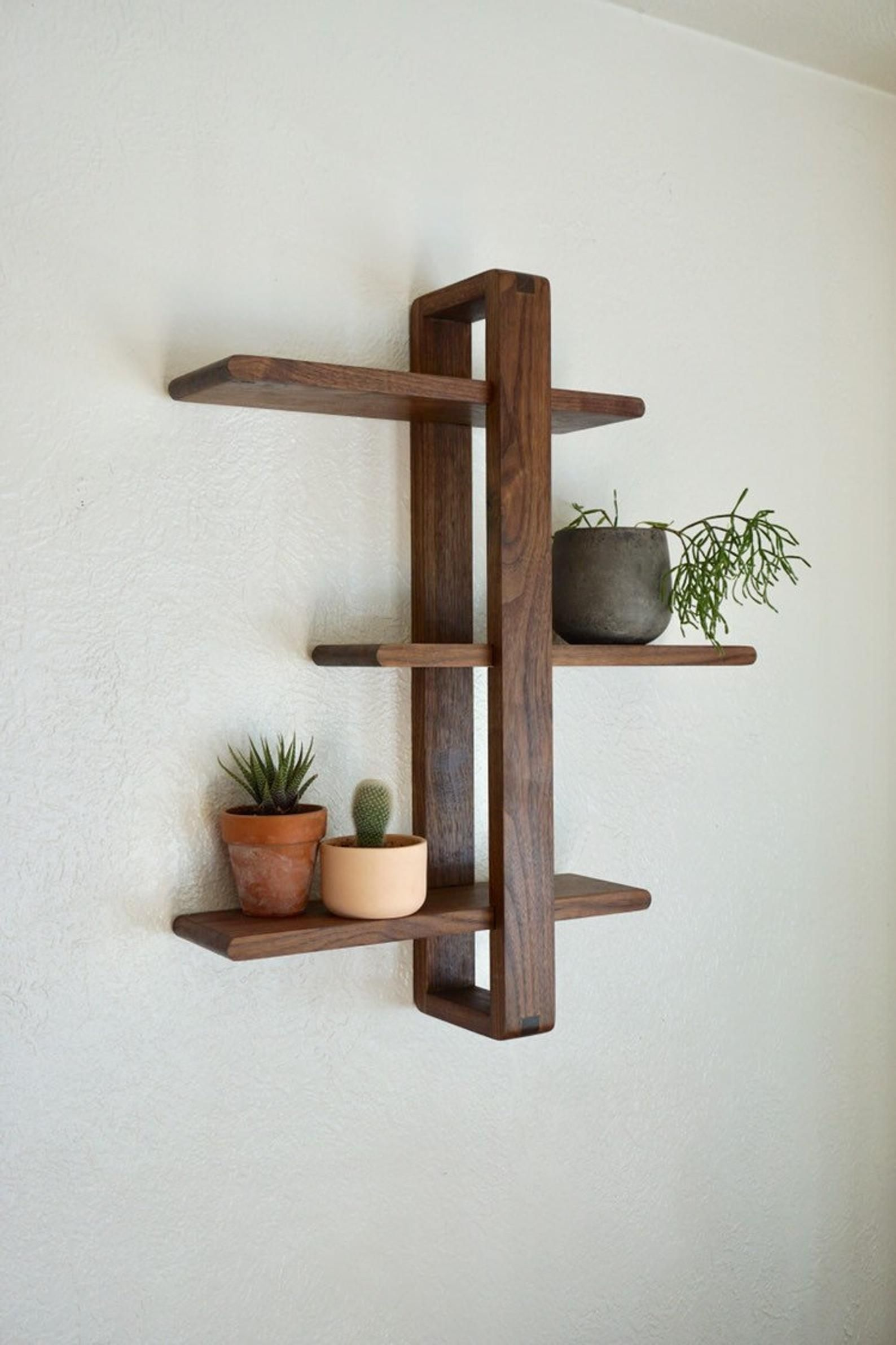 Shift Shelf Modern Wall Shelf, Solid Walnut for Hanging