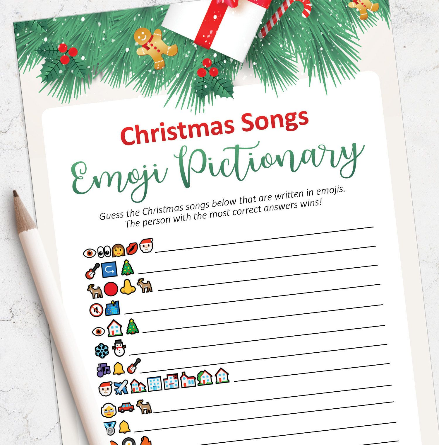 Christmas Emoji game, Christmas songs game, Printable