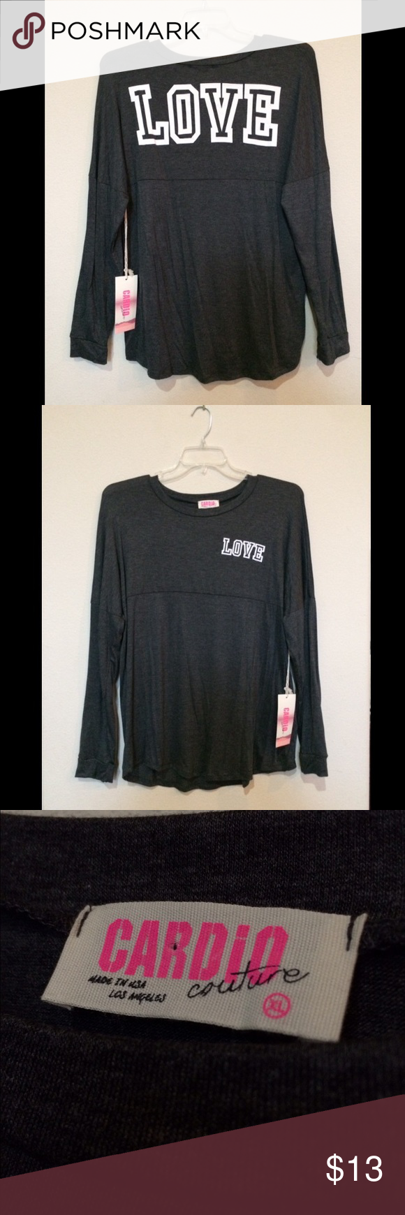 """New """"Love"""" long sleeve top Brand new NWOT, thin long sleeve top. It has the word """"love written large across the upper back, and smaller on the front breast pocket. Cardio Couture Tops Tees - Long Sleeve"""