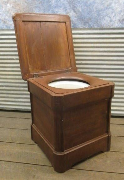 Wooden Commode Stool, Bedside Chamber Pot Potty, Rustic Bathroom ...