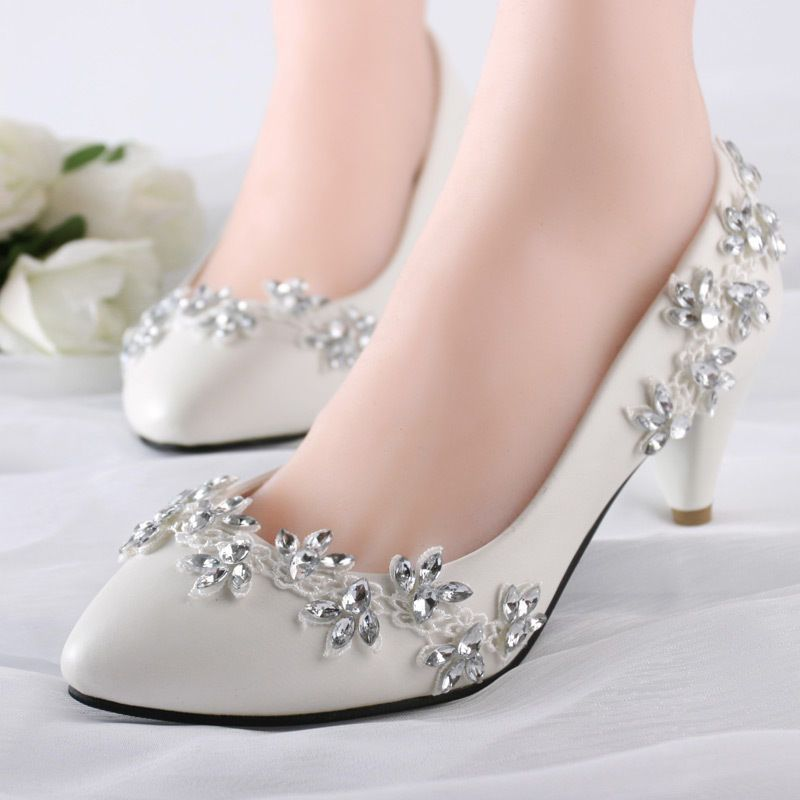 Lace Bling Wedding Formal Bridal Pump High Heels Low Heels Flat Shoes Size 5 12 Sapatos De Casamento Sapatos De Principe Sapatos De Noiva