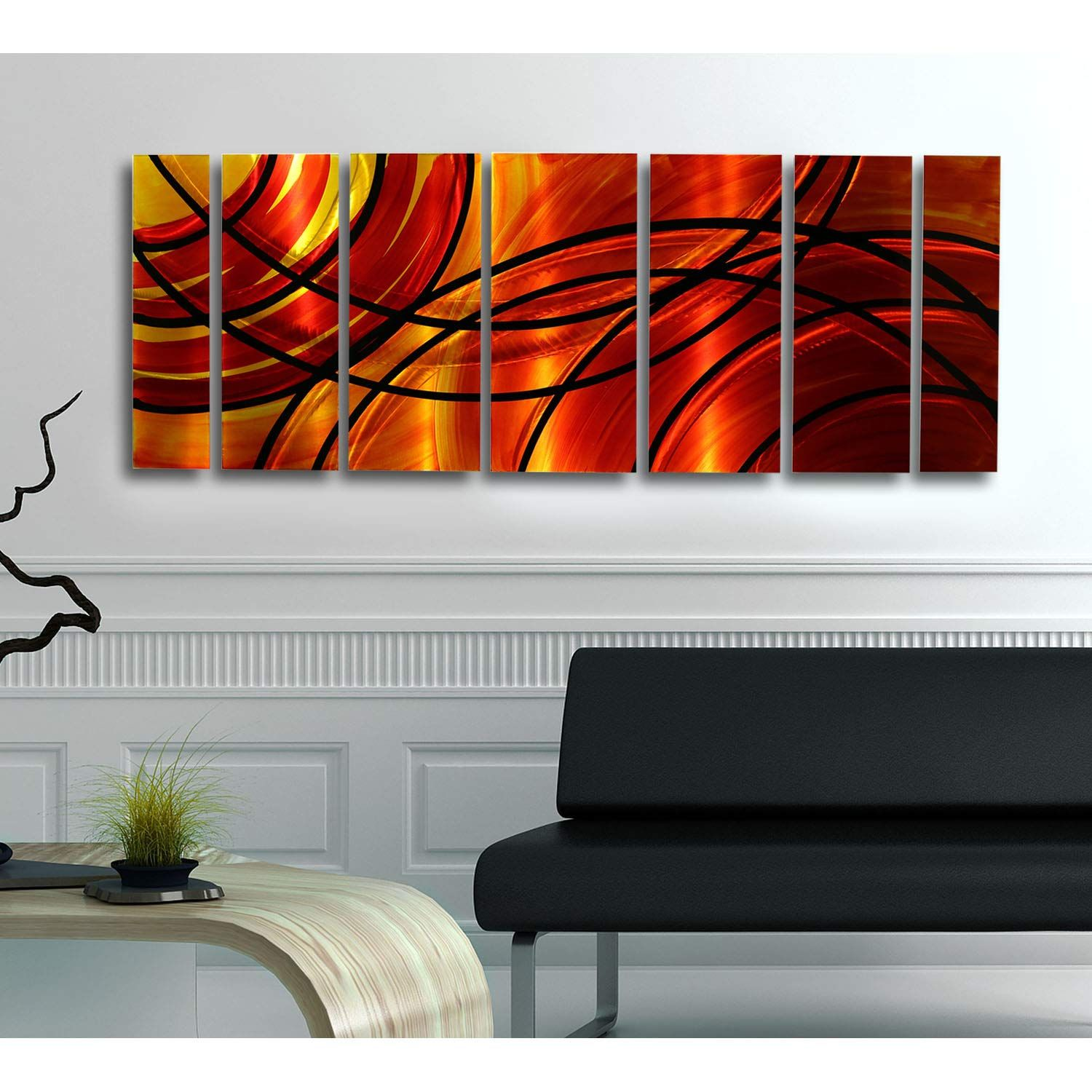 Red Orange Gold Black Abstract Metal Wall Art Painting Abstract Metal Wall Art Large Metal Wall Art Hand Painted Wall Art
