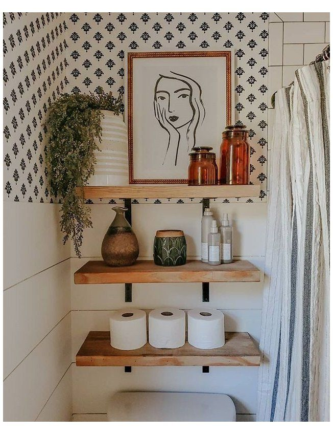 Photo of boho bathroom shelves
