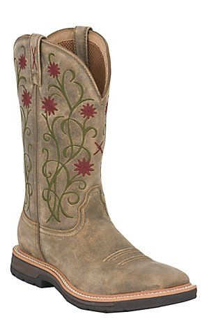 Twisted X Lite Women S Distressed Brown And Floral Square