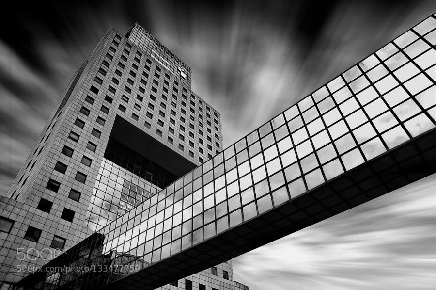 Frankfurt - Pinned by Mak Khalaf Black and White architectureblack and whitedeutschlandfrankfurtgermanytorhausurban by Michael-Bies