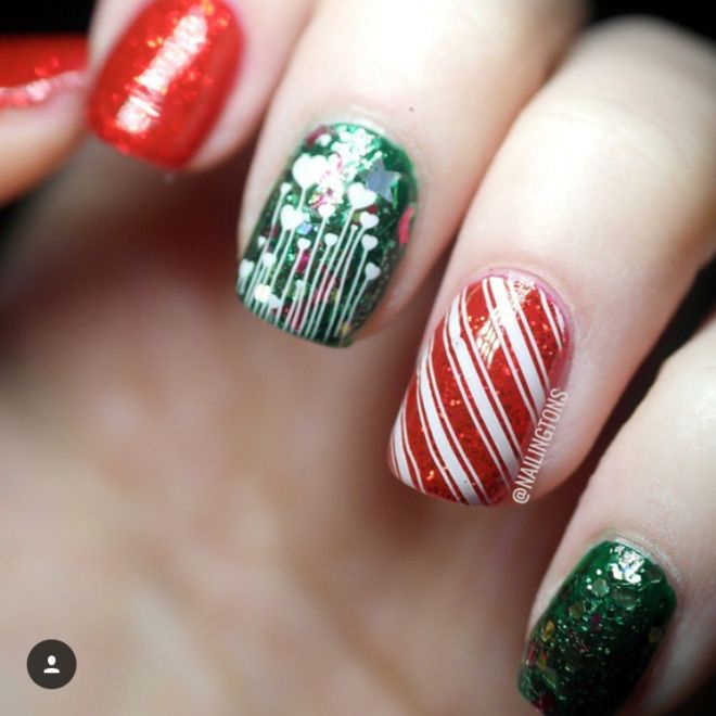 32 Christmas Nail Designs You'll Love CherryCherryBeauty.com  #nails #Christmasnails #Christmas #festive #festivenails #glitter #glitternails #winternails #nails #nailart #naildesigns #nailinspiration #candycanes #candycanenails #greennails