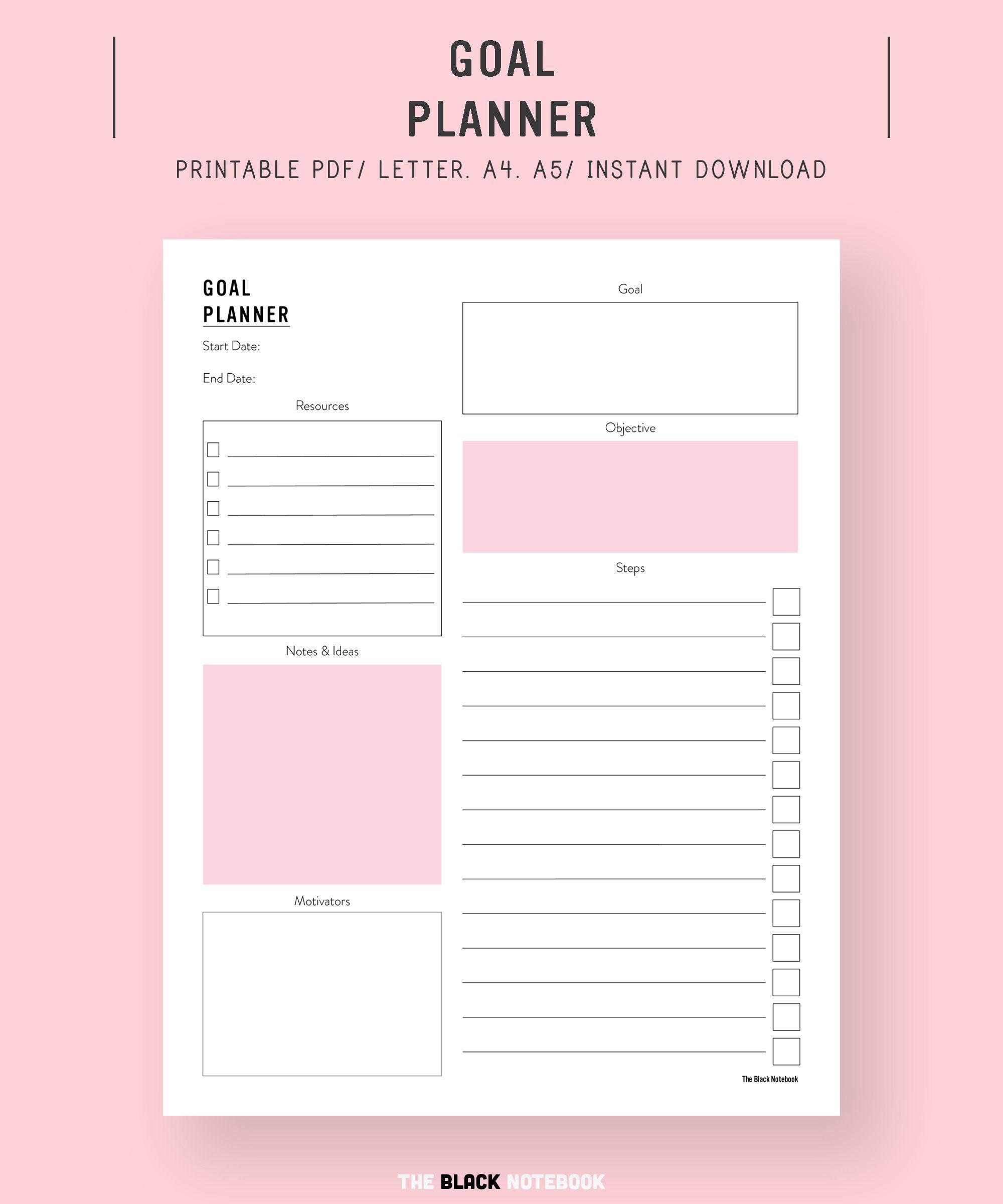 Goal Planner Goal Tracker Goal Setting Printable