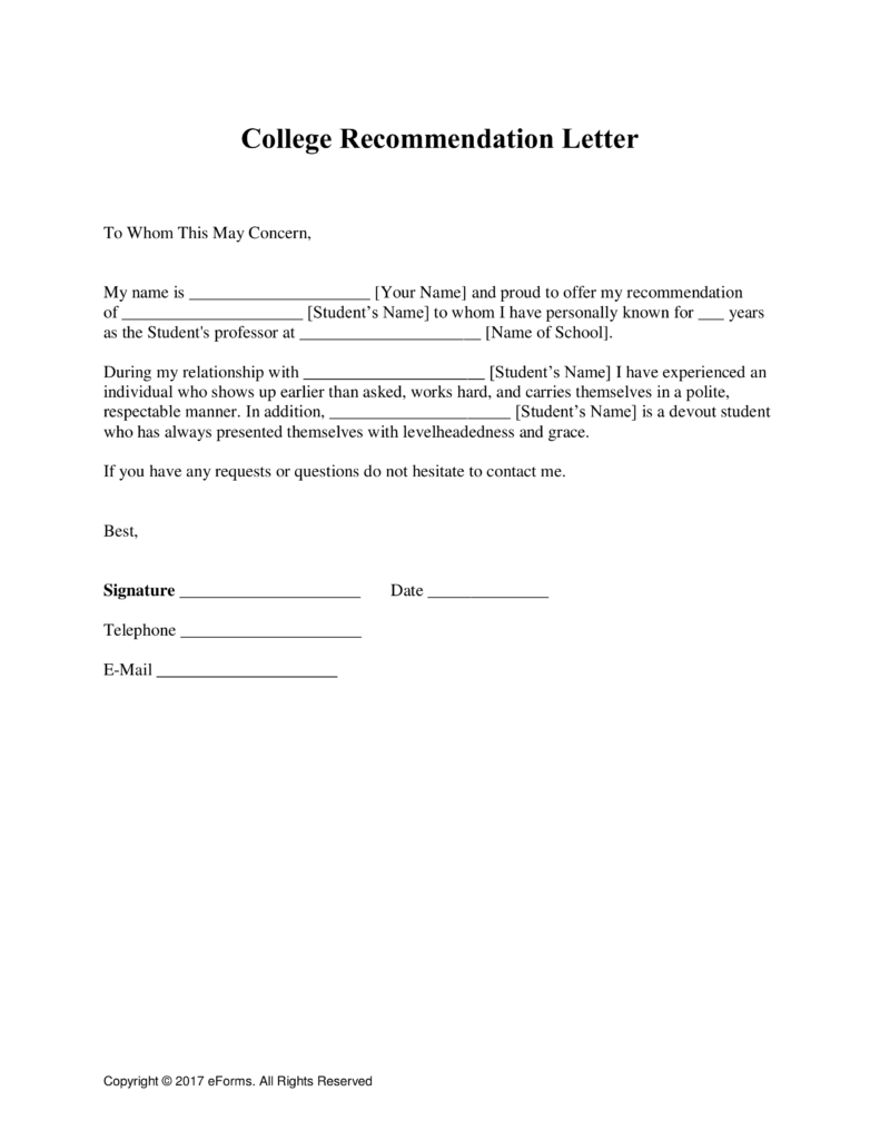 Letter Of Recommendation Template Business Mentor Reference