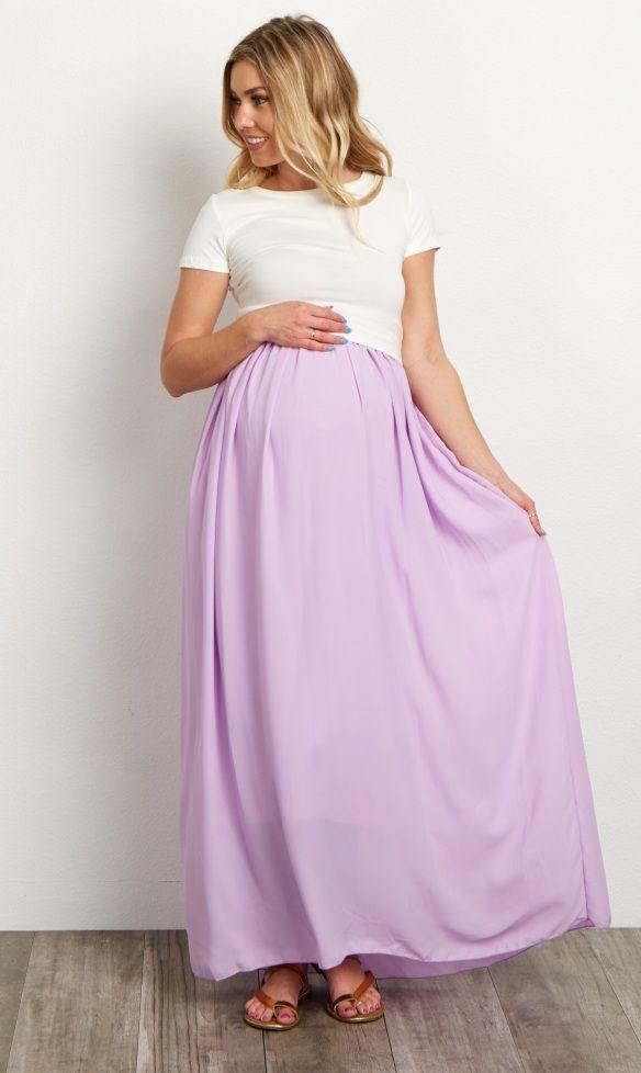 Lavender Chiffon Maxi Maternity Skirt | Mi persona, Embarazo y Personas