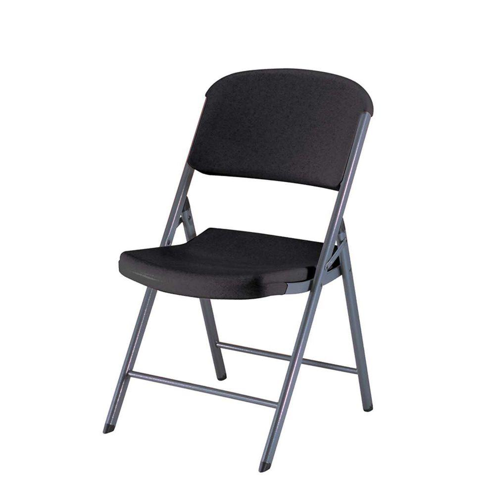 Commercial Contoured Folding Chair in Black (4-Pack)