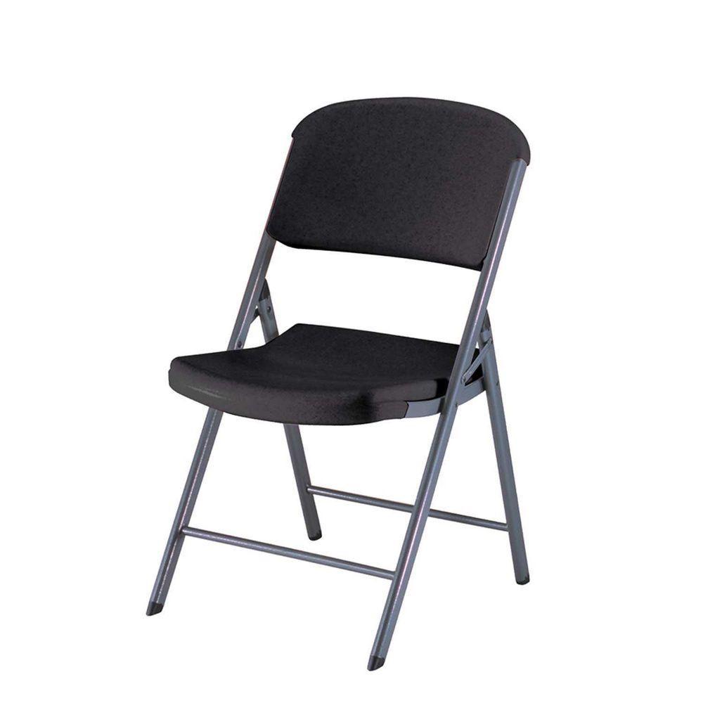 Lifetime Black Plastic Seat Outdoor Safe Folding Chair Set Of 4